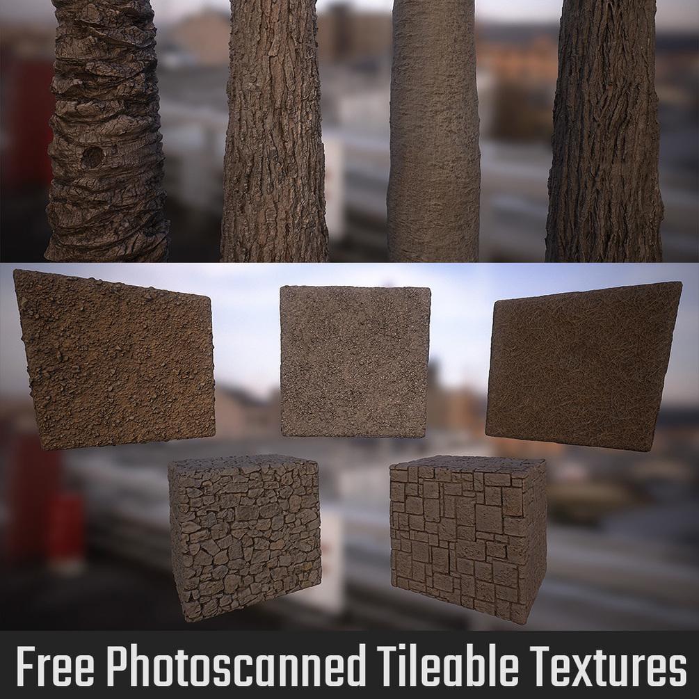 木や地面やタイルのフォトスキャンされたテクスチャがダウンロード可能だぞ!!