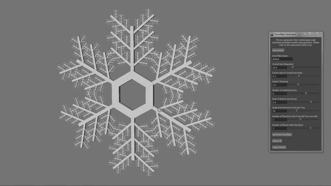 mayaで雪結晶を作る!!Snowflake Generator!!